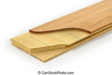 Wooden parquet plank. See layers of parquet plank. 3d illustration