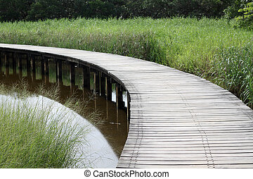 Wooden path in countryside