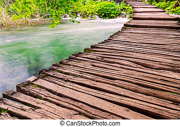 Wooden path in National Park in Plitvice