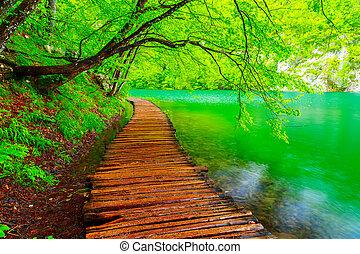 Wooden path in National Park in Plitvice in Croatia
