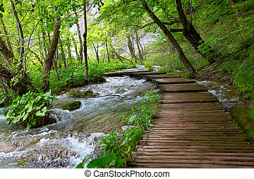 Plitvice National Park - Wooden path in Plitvice National...