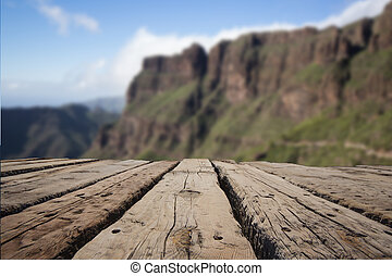 wooden path macro , mountain landscape background