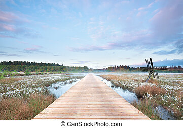 wooden path on swamp at misty sunrise