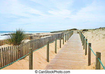 Wooden path on the Atlantic beach with ocean view