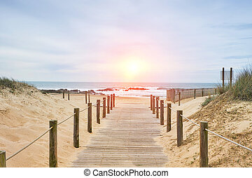 Wooden path on the beach with ocean view