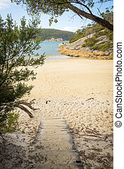 Wooden Path Onto Refuge Cove - Wooden walking path onto sand...