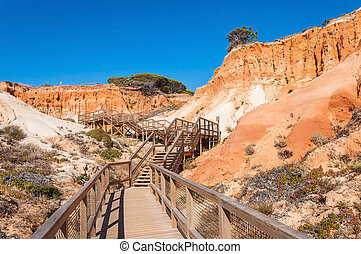 Wooden path to Falesia Beach in Portugal