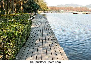 wooden pathway by the lake