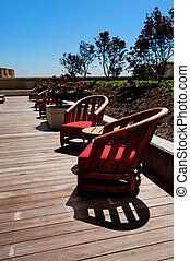 Wooden Patio Chairs on a Deck