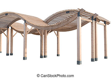Wooden pavilion for sun protection on the beach on white