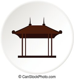 Wooden pavilion icon circle