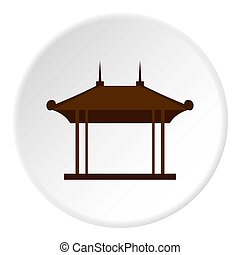 Wooden pavilion icon circle - Wooden pavilion icon in flat...