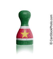 Wooden pawn with a flag painting - Wooden pawn with a ...