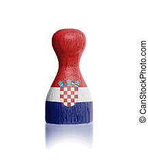 Wooden pawn with a painting of a flag, Croatia