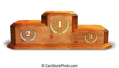 Wooden pedestal for trophies