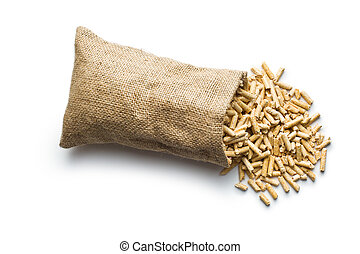 wooden pellets in jute sack