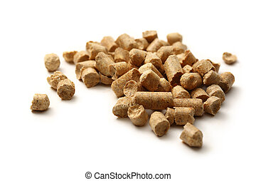 Wooden pellets on white background