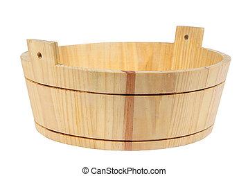 Wooden pelvis, basin, tub, vat on tne white background