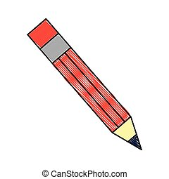 wooden pencil artistic creativity object vector illustration