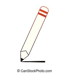 Wooden pencil cartoon red lines - Wooden pencil cartoon...