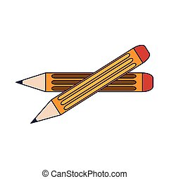 Wooden pencil crossed isolated vector illustration graphic...