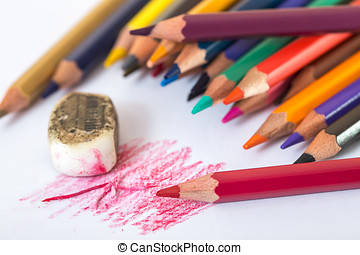 Wooden pencil eraser The background paper on