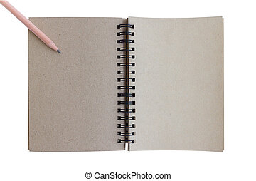 wooden pencil for drawing and brown notebook for for office theme concept isolate on white background
