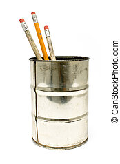 Wooden pencils in a tin holder