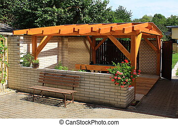Wooden pergola designed for recreation and relaxation