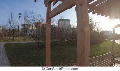 Wooden pergola in a city park