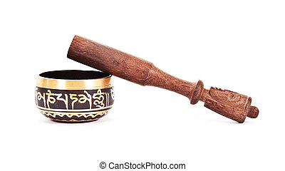Wooden pestle with ceramic mortar