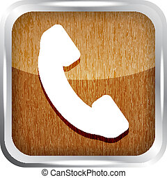 wooden phone button icon on a white