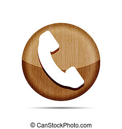 wooden phone button icon on a white background