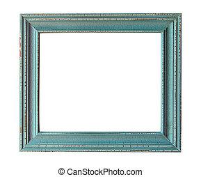 Wooden photo frame empty Isolated on white background.