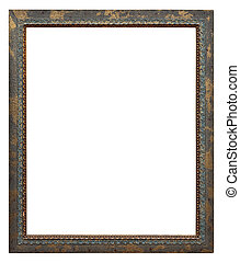 Wooden photo frame golden and green