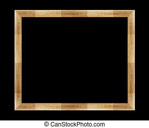 photo frame - wooden photo frame isolated on black...