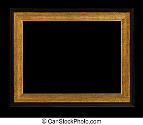 wooden photo frame isolated on black