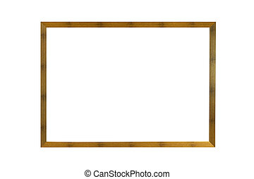 wooden photo frame isolated on white background with ...