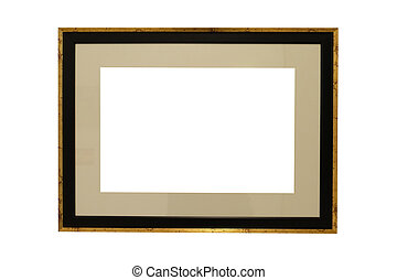 wooden photo frame isolated on white