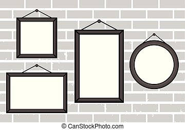 Wooden photo frame on a brick wall