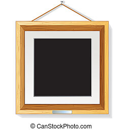 Wooden Photo Frame on the Wall Vector Illustration
