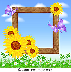 Wooden photo frames with sunflowers - Design wooden photo...