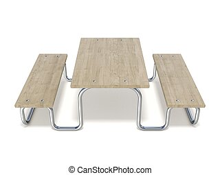 Wooden picnic table 3D