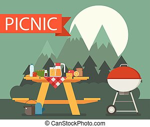 Wooden Picnic Table on Mountain Background