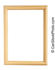 Wooden picture frame Isolated, clipping path