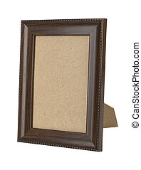wooden picture frame - wooden picture frame isolated on...