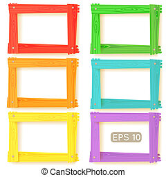 Wooden picture frames color set for your web design