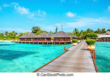 Wooden pier and exotic bungalow on the background of a sandy beach with tall palm trees, Maldives