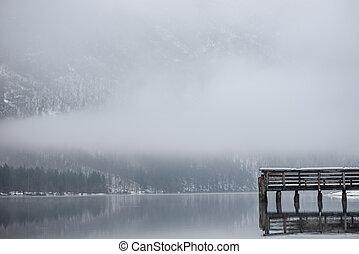 Wooden pier at lake Bohinj