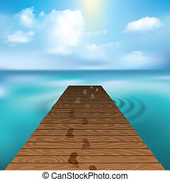 pier - Wooden pier at sea with cloudscape